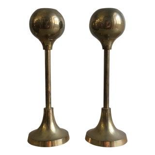 Mid-Century Brass Bulb Candlesticks - A Pair
