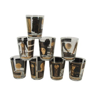 Gold & Black Golf Lowball Glasses - Set of 8