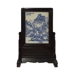 Chinese White & Blue Porcelain Picture Panel