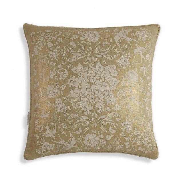 Metallic Linen Swallow Garden Pillow, Gold - Image 2 of 4