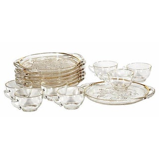 1960s Floral Glass Lunch Set - 14 Pieces