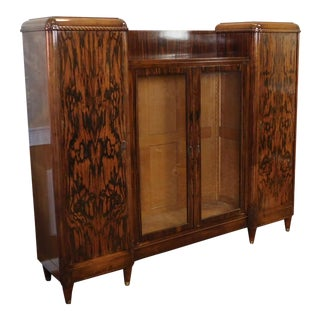 1920s Antique French Art Deco Macassar Wood Bookcase Cabinet