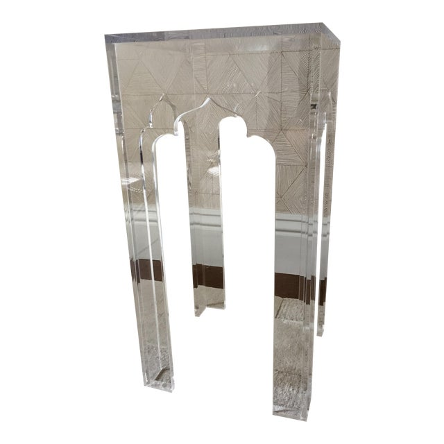 Image of White Webb Clear Acylic Alexander Side Table