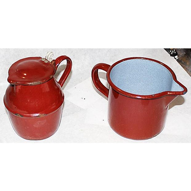 Image of French Enamelware Creamer and Pichter