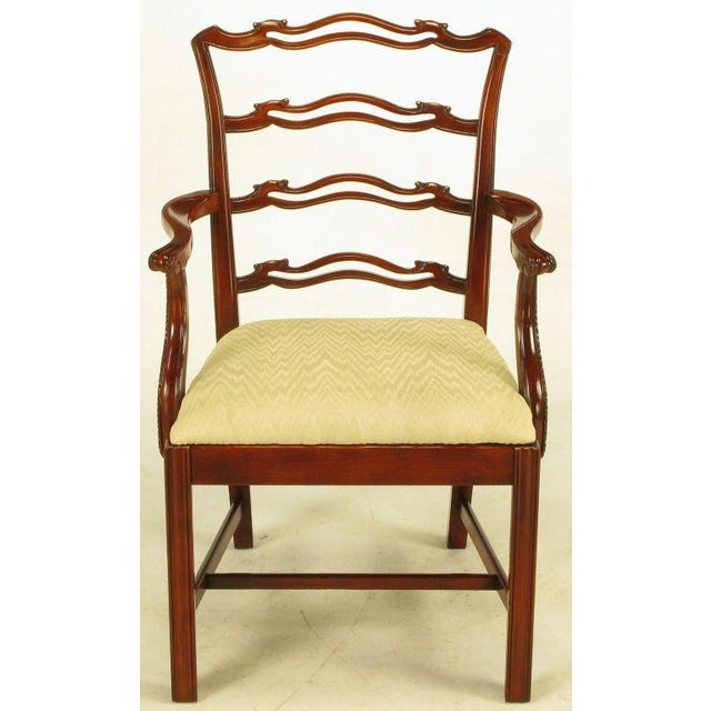 Six Ribbon Back Chippendale Dining Chairs - Image 3 of 10