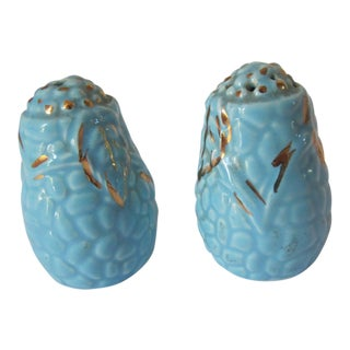 Blue & Gold Salt and Pepper Shakers - a Pair