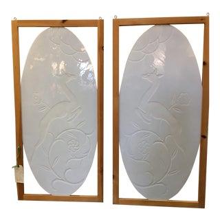 Art Deco Milk Glass Panels - A Pair