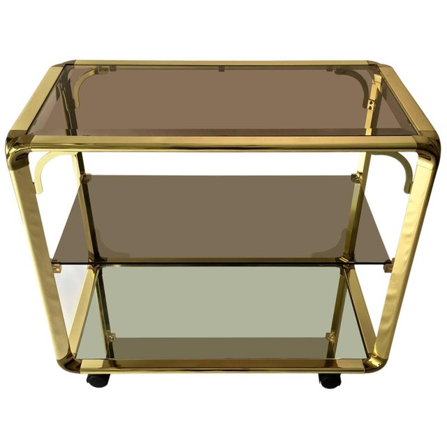 Vintage 1970s Smoked Glass & Mirror Brass Bar Cart - Image 1 of 6