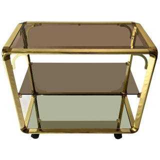 Vintage 1970s Smoked Glass & Mirror Brass Bar Cart
