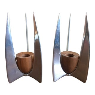 Danish Teak Metal Candle Holders - A Pair