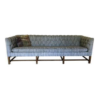 Vintage Gray Tufted Sofa & Pillow