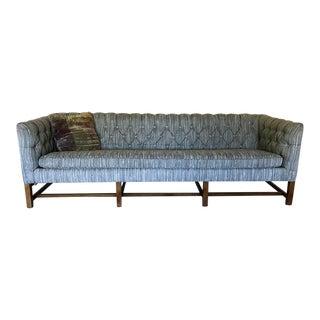Vintage Gray Tufted Sofa & Pillow