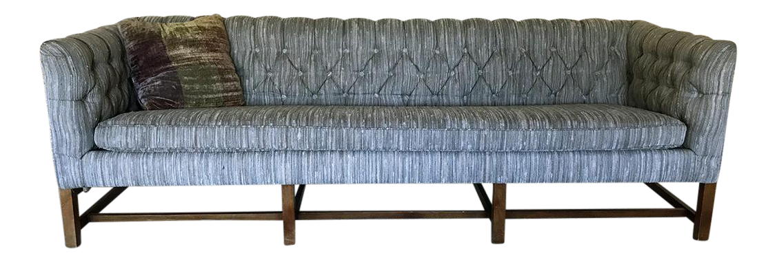 Vintage Gray Tufted Sofa U0026 Pillow