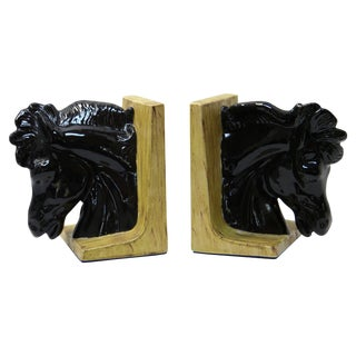 Ceramic Hollywood Regency Horsehead Bookends