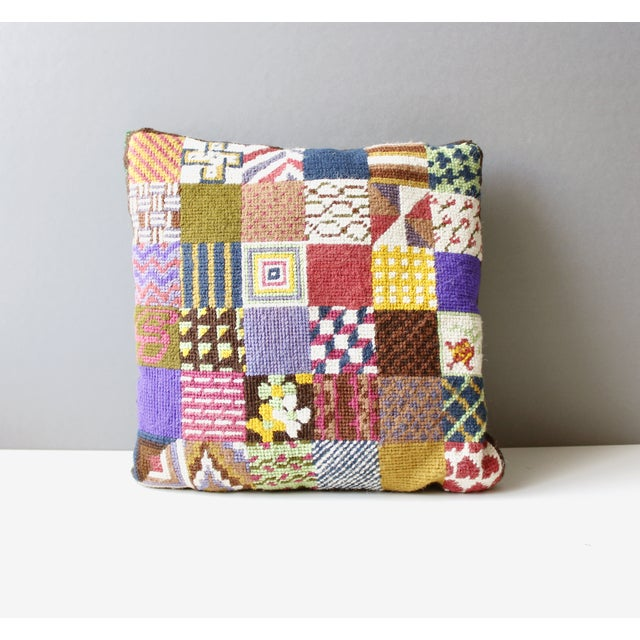 Vintage Patchwork Needlepoint Pillow Flowers - Image 2 of 3