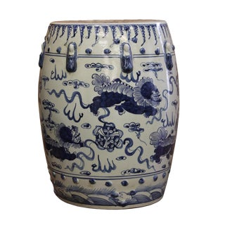 Chinese Blue & White Porcelain Foo Dogs Round Stool
