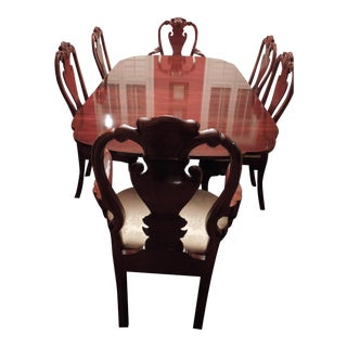 Kindel Mahogany Winterthur Dining Table With 6 Queen Anne Chairs