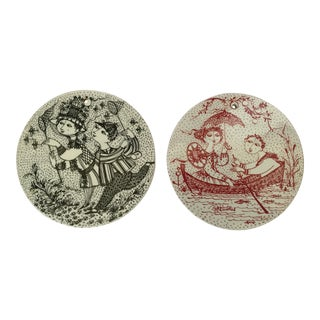 Mid-Century Modern Bjorn Wiinblad Hanging Plates - A Pair