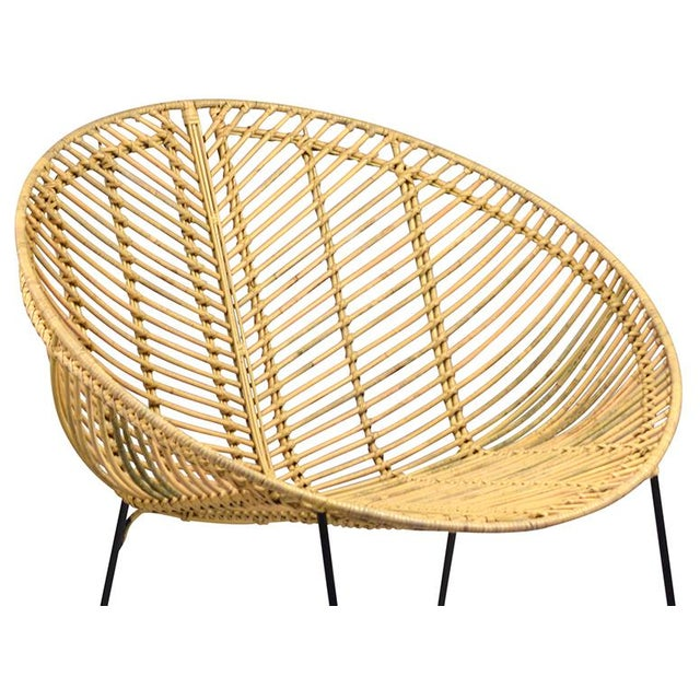 Rattan & Iron Cone Chair - Image 2 of 2