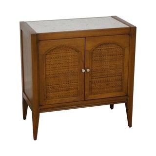 Paul McCobb Style Mid-Century Walnut & Marble Cabinet