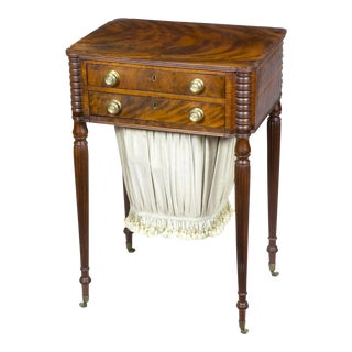 Classical Federal Figured Mahogany Worktable with Original Brasses
