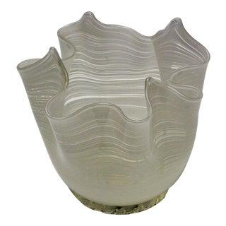 Vintage Aureliano Toso Murano Filigrana Handkerchief Glass Vase-1950s Italian Italy Mid Century Modern MCM