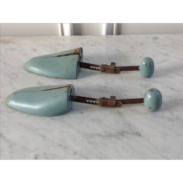 Blue Wooden Shoe Molds - A Pair - Image 2 of 5