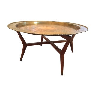 Large MCM Oriental Brass Tray Table