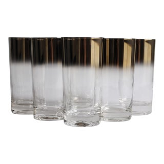 Mid-Century Silver Fade Highball Glasses - Set of 6