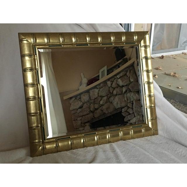 Gold Bamboo Beveled Mirror, Hollywood Regency - Image 5 of 6
