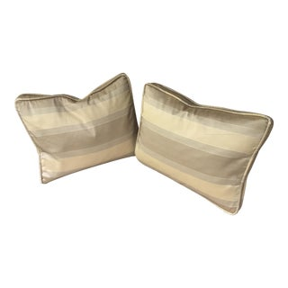 French Striped Silk Pillows- A Pair