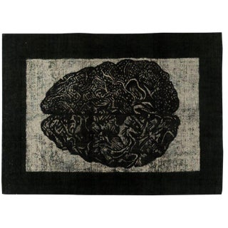 "Grunge Distressed Black Overdyed Rug, 8' 1"" x 10' 9"""