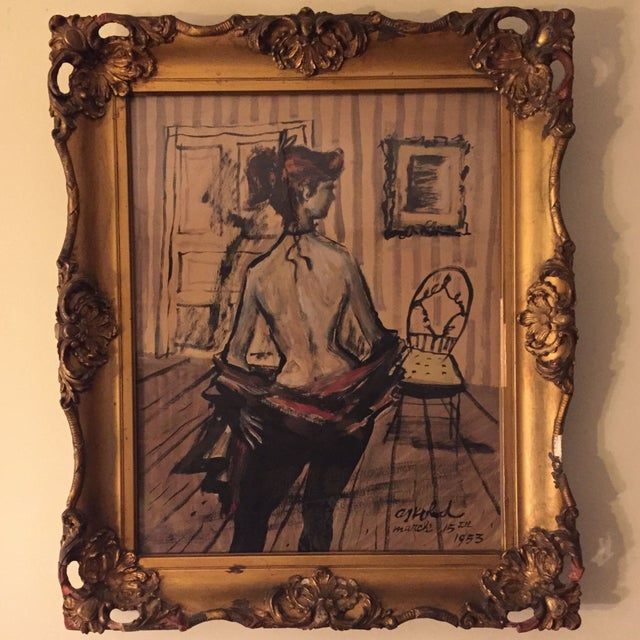 Image of Signed Mid-Century Bohemian Nude Painting