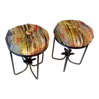 "S. Harris ""Brushstroke"" Velvet Button Tufted Stools- A Pair"