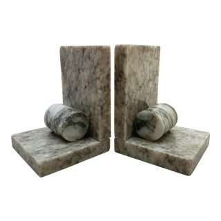 Mid Century Marble Bookends, A Pair