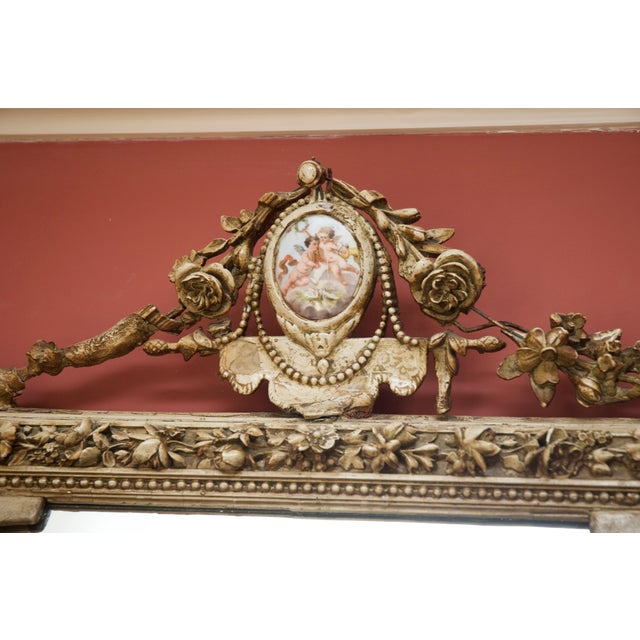 Carved Gilded Wall Mirror With Porcelain Cartouche - Image 5 of 5
