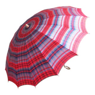 Vintage Red Plaid Umbrella