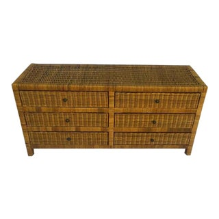 Vintage Rattan Dresser 6 Drawer Chest Au Natural Boho Chic