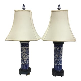 Antique Blue & White Porcelain Table Lamps - A Pair
