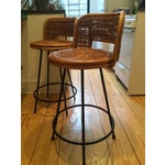 Image of Tony Paul Style Vintage Rattan & Bamboo Swivel Bar Stools- A Pair