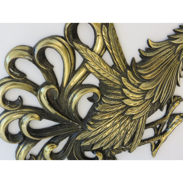 Brass Rooster Wall Hangings- A Pair - Image 5 of 9
