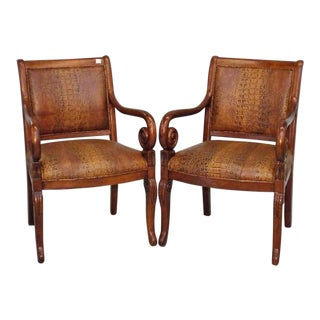 Alligator-Embossed Leather Arm Chairs - A Pair