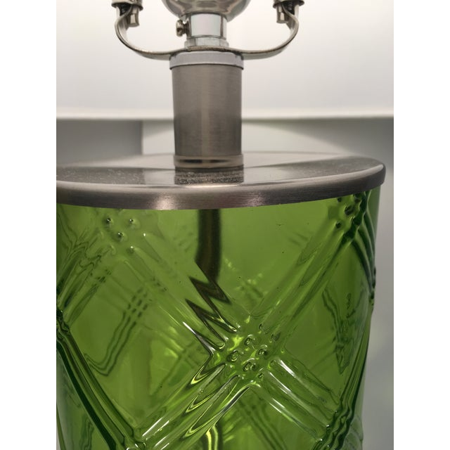 Green Glass Lamp With Bamboo Pattern - Image 5 of 6