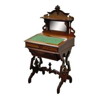 Antique Eastlake Victorian Carved Walnut & Mirror Writing Desk
