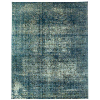 """Vintage Distressed Turquoise Persian Rug - 9'7"""" x 12'3"""""""
