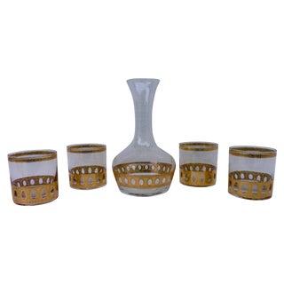 Culver 22kt Decanter & Lowball Glasses - Set of 5