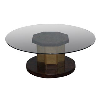 Mastercraft Burlwood/Brass Glass Top Coffee Table