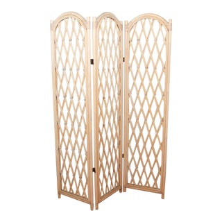 Bamboo Cane Tri-Fold Hollywood Regency Natural Blonde Room Divider