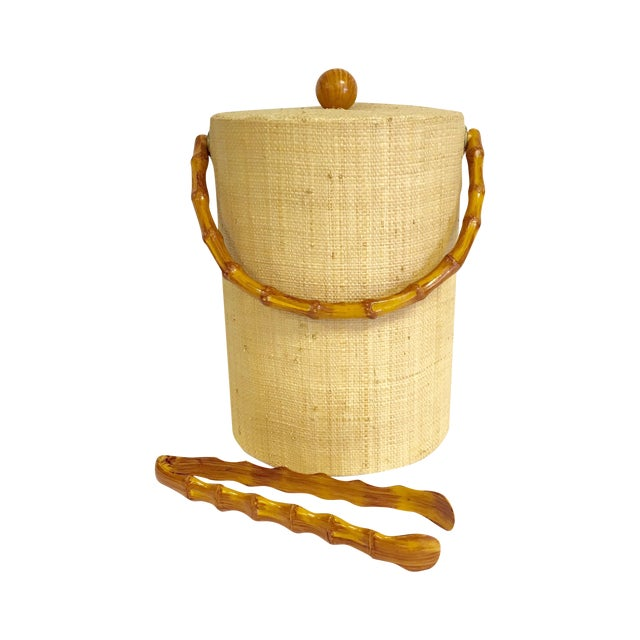 Image of Grasscloth Ice Bucket With Bamboo Tongs