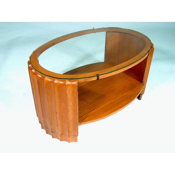 Paul Frankl Attributed Art Deco Oval Coffee Table - Image 2 of 3